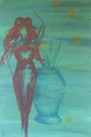 Red Woman with Vase